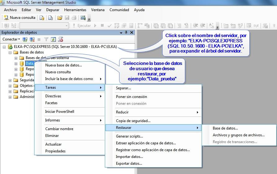 Restaurando una copia de seguridad de datos SQL Server